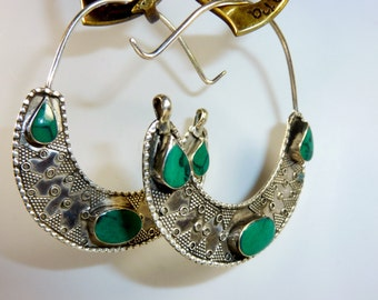 Crescent Silver Earrings with Green Stones, Vintage Tribal-Silver-Earrings