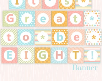 It's Great to be Eight LDS Mormon Baptism Printable Banner