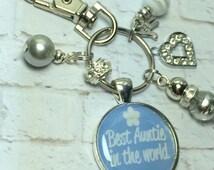 Auntie keyring keyring, Best Auntie in the World keychain, handmade keyring, bag charm