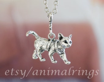 Cat Necklace, Charm Necklace, Pendant Necklace, Chain Necklace, Silver, Gold, Matte Black, Delivery in White Gift Box!