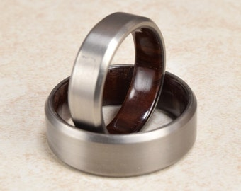Titanium & Brazilian Rosewood Lined Ring // Engagement Ring // Exotic Wood Ring // Men's Wedding Band // Women's Ring // Gift Ring