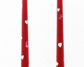 Hand painted Valentine Candle wax tapers one pair