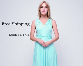 Aqua Blue infinity dress, Long convertible dress, bridesmaid dresses, convetible wrap dress
