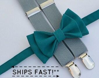 Teal Bow Tie & Grey Suspenders -- Ring Bearer Outfit -- Groomsmen Bow Tie and Suspenders