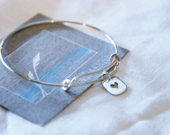 "38* ""Heart"" Flexible Bracelet with 1 charm - Sterling Silver 925"