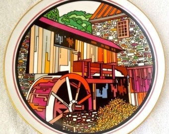 Vintage, Old Grist Mill Collector Plate, Limited Edition Only 550 Made, Dec 1978