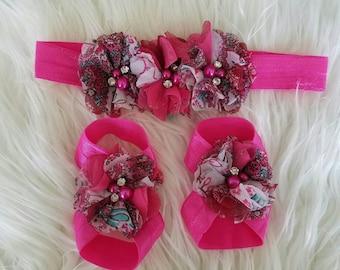 Hot Pink Baby barefoot sandal set - barefoot sandal - infant sandals - baby sandals - sandals - toddler barefoot - fuchsia pink barefoot set