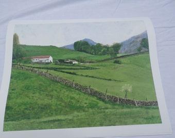French Farm  - Print on fine art Giclee - representational landscape - 14 x18 image