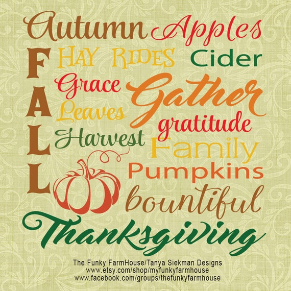 "SVG, & PNG - ""Fall, Autumn and Thanksgiving!"""