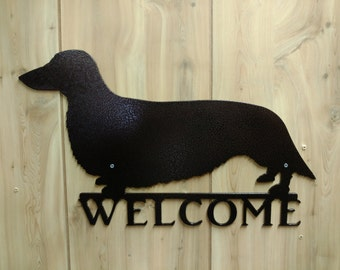 Longhaired Dachshund Welcome Wall Sign
