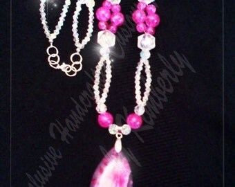 Pink Glass Stone Necklace