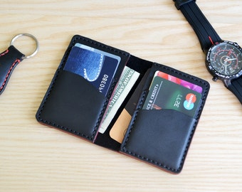 Credit card case in  black Horween Essex leather / Wallet, business card, purse in Black Horween Essex leather with red edges
