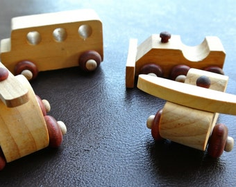 Montgomery Schoolhouse Wood Toys, Collection of Wood toys, Set of 4.