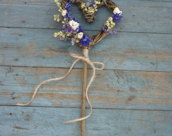 Provence Dried Flower Willow Heart Wand
