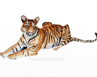 original watercolor painting tiger painting animal painting A4 - 21x29.7cm (8.3x11.7inch)