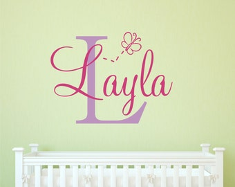 Personalized Butterfly Wall Decal - Name Decal - Personalized Name - Kids Vinyl Lettering - Playroom Decal - Monogram - Bird - Owl Nursery