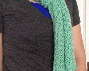 Mint green loom knitted scarf