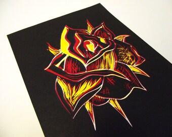 A5 Abstract Rose Lino-Print