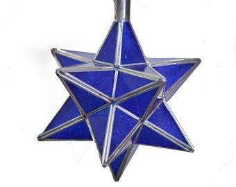 MOROCCAN STAR - Beautiful Vintage Brass and Glass Blue Moroccan Handmade Hanging Pendant Star Light