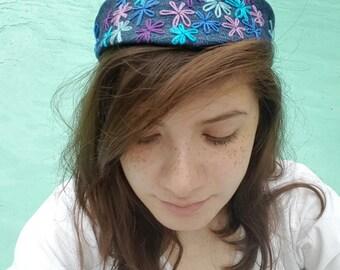embroidered flower headband (2way)