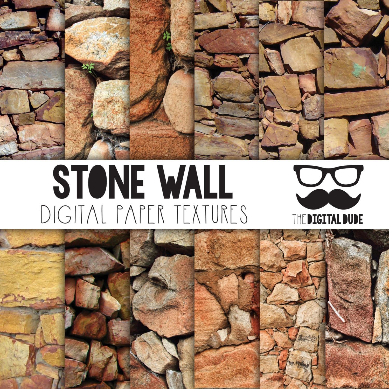Paper Stone Walls : Premium digital paper set stone wall scrapbook