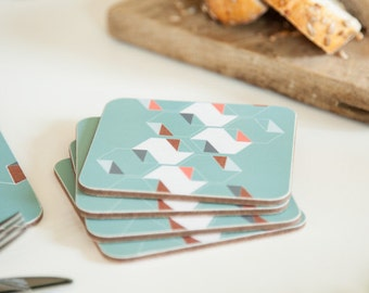 Geometric coasters, hexagon design, turquoise coasters, coral, origami pattern, set of 4, 10x10cm, 4x4""
