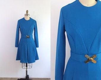 1970s Blue Long Sleeve Dress   small/medium