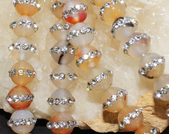 "THE VAULT: 16"" Strand of 5 to 6mm Smooth Round Natural Agate with Rhinestones Around The Middle #21"