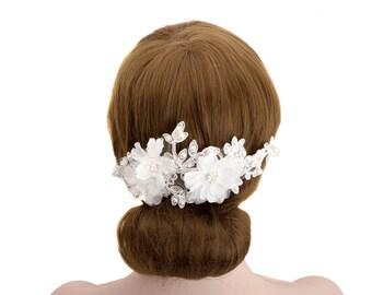 Wedding Bridal Flower Rhinestone Detail Lace Hair Comb,Wedding Bride Headpiece,Women Headpiece -WH10C12