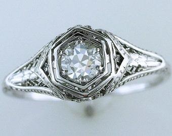 Vintage Antique .54ct Solitaire Diamond 18K White Art Deco Engagement Ring
