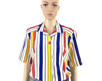 Vintage Red, Blue, Yellow and White Striped Short Sleeve Blouse, Small