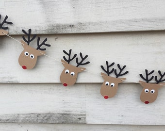 Rudolph Garland - Rudolph the Red Nosed Reindeer - Reindeer Garland - Rudolph Banner - Christmas Decoration