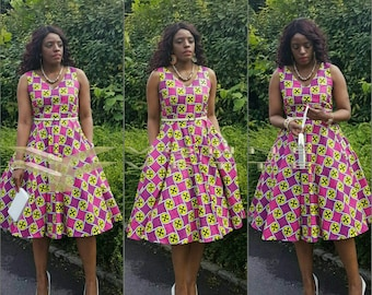 African print full circle dress