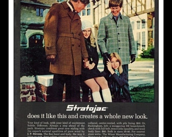 "Vintage Print Ad October 1969 : Stratojac Wool Fashion Clothing  Wall Art Decor 8.5"" x 11"" Advertisement"
