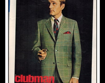 "Vintage Print Ad October 1968 : Clubman Fashion Sportcoats Single Page Wall Art Decor 8.5"" x 11"" Advertisement"