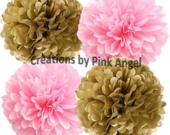 Set of 6 Pink and Gold Pom Poms, Pink and Gold Tissue Pom Poms, Gold and Pink Wedding Pom Poms