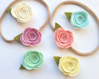 Petite Wool Felt Roses on Nylon Stretch Headband - YOU CHOOSE - One Size Fits All - Baby Headband - by Gracie and Me
