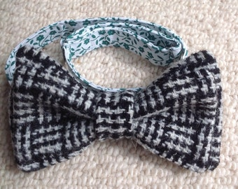 Harris Tweed adjustable pre-tied bow tie - black & white basketweave