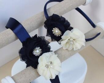 Navy blue headband, navy blue and ivory dress sash, navy blue flower girl headband, ivory and navy blue dress sash, navy flower girl sash