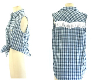 90s Check Button Up With Fringing Detail Western Seventies