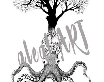 OCTOPUS TREE DRAWING Original Print