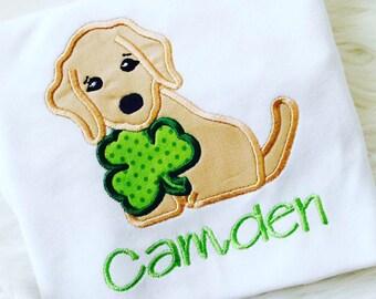 St Patricks Day puppy shirt