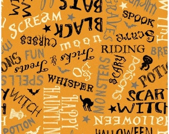 Halloween - Come Sit a Spell Orange Word Fabric 84397-89