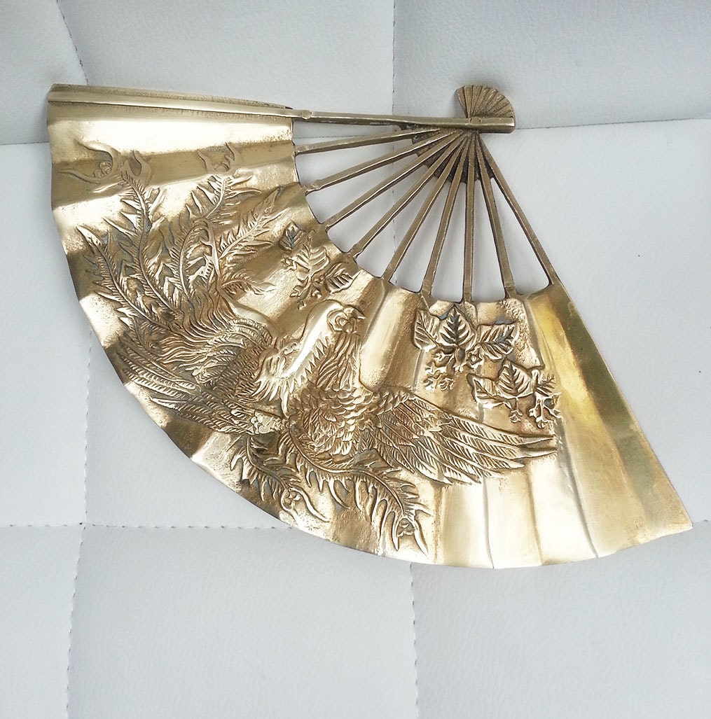 Decorative Wall Fans : Solid brass decorative fan wall decor oriental retro