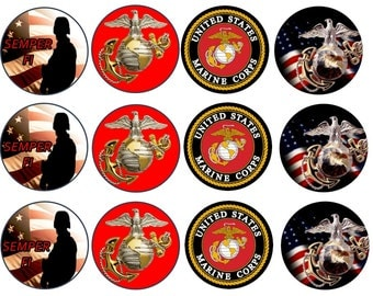 US MARINES EDIBLE Images ( 2.5 Inch ) Cupcake or Cookie Toppers