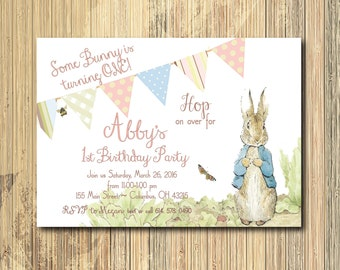 Vintage Peter Rabbit Birthday Invitation / DIGITAL FILE / printable / wording, age and colors can be changed