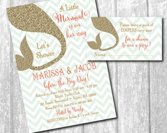 Mermaid Baby Shower Invitation with matching Diaper Raffle Tickets / DIGITAL FILES/colors & wording can be changed