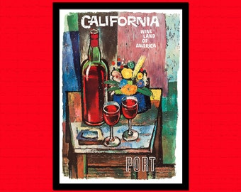 California Wine 1960 Poster Print - Vintage Wine Poster Kitchen Poster Wall Decor Home Decor Kitchen Art Food Poster Gift    Reproduction