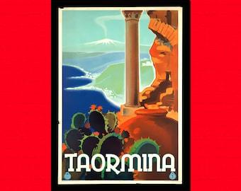 Taormina Travel Print - Italy Travel Poster Travel Art Reproduction Travel Italian Poster Hotel Decor Travel