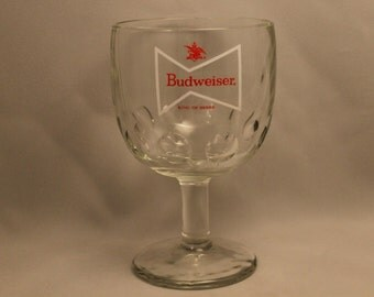 SALE! Vintage Budweiser Glass Goblet/Chalice King of Beers Bow Tie Logo